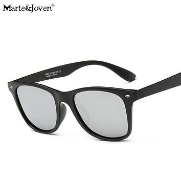 [Marte&Joven] Classic Retro Women Men Matte Black Frame Polarized Oval Sunglasses Driver's Mirror Coating Points Driving Eyewear