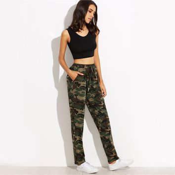 Women Drawstring Mid Waist Casual Sweatpants Autumn Fashion Tapered Pockets Long Pants