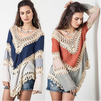 Women Fashion Sexy V-neck Long Sleeve Stripes Plus Size Knit Cotton Sweaters Top Blouse Tees T-Shirts Casual = 1945911492