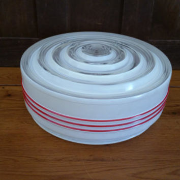 Vintage Mid Century Frosted and Clear Glass Drum Style Ceiling Light Shade Diffuser Globe Red Stripe