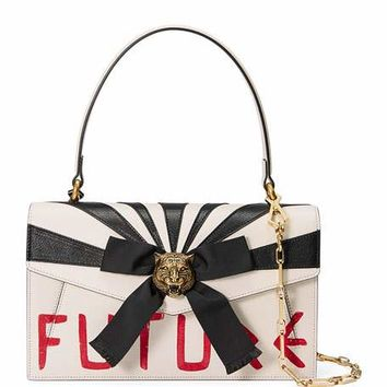Gucci Future Bow Top-Handle Bag, White/Red