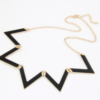 Vintage Elegant European Fashion Waves Geometry Black Choker Necklace Alloy Chain Necklaces Statement Piece