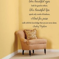 Beautiful Eyes.. Audrey Hepburn Quote Vinyl Wall Decal Sticker Art