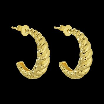 Golden Rope Twist Hoops