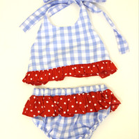 Girls Blue Gingham Swimsuit