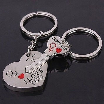"Arrow & ""I Love You"" Heart & Key Couple Key Chain Ring Keyring Keyfob Lover Gift Valentine's Day"