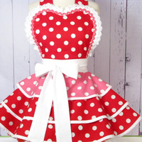 Cherry Bubblegum Apron for Pinup Girls by Dots Diner -- Made to Order