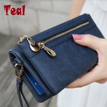 Fashion Women Long pu Leather Wallet Female Double Zipper Clutch Coin Purse Ladies Wristlet women's purse evening clutch bags