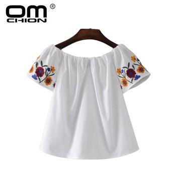 Casual Floral Embroidery Backless Women Clothing Solid Patchwork Slash Neck Off shoulder Tops