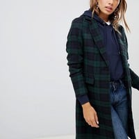 New Look Tartan Check Coat at asos.com