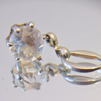 Vintage Clear Glass Pendant Jewelry Making Supplies Silver Tone Accessories