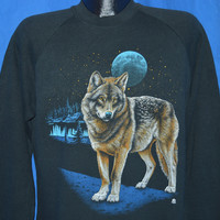 80s White Wolf Blue Full Moon Sweatshirt Large