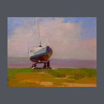 Small Boat Art - Boat Painting - Small Oil Painting - Summer Painting by Yuri Pysar