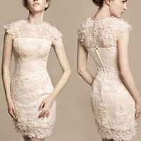 Small short wedding dresses bridesmaid dresses dress bride wedding (Size: M) = 1929580868