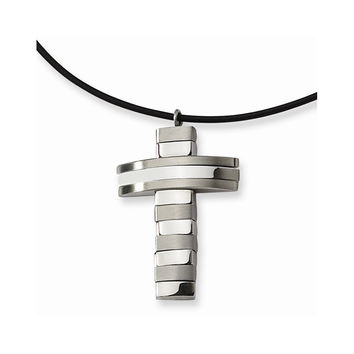 18 Inch Stainless Steel Leather Cord Cross Necklace