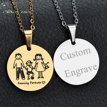 Nextvance Family Forever Love Medal Necklace Father Mother Son Pendant Nekclace Personalized Photo & Name Gift