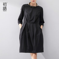 Toyouth 2016 Women One-Piece Dress Full Medium Dresses Lady Loose Solid Three Quarter Knee-Length Dress Black