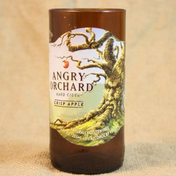 Drinking Glasses from Recycled Angry Orchard Crisp Apple Beer Bottles, 8 oz, Unique Barware, Unique Gift, ONE glass
