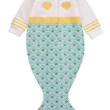 Newborn Kids Baby Girls Infant Mermaid Sleeping Bags Long Sleeve Bodysuit Clothes Outfit 0-18M