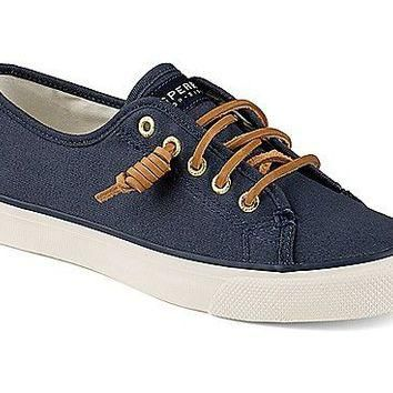 Women's Seacoast Canvas Sneaker in Navy by Sperry