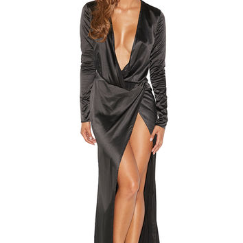 Clothing : Max Dresses : 'Serafina' Black Draped Maxi Dress
