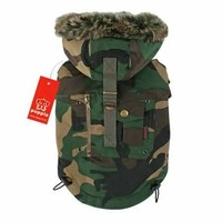Puppia Coup D'Etat Hooded Dog Coat in Camo