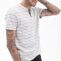 Striped Henley Tee Oatmeal/Navy