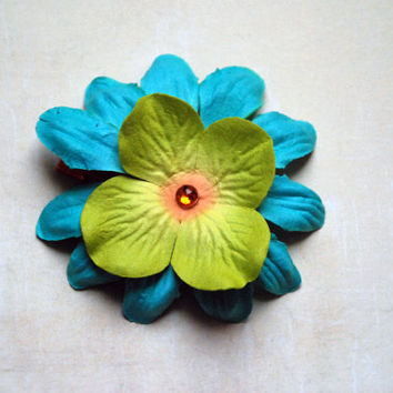 Green and Blue Tropical Paper Flower Hair Clip with Gem