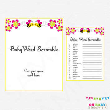 Pink Bee Baby Shower, Baby Word Scramble, Bumble Bee Baby Shower, Bee Baby Shower Game, Honey Bee Girl Baby Shower, Bee Word Scramble,  BP01