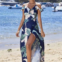 New Style Women Bohemian Sexy Floral Ruffles Split Long Dress Seaside vacation Beach Dress