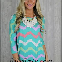 Minty chevron tunic top