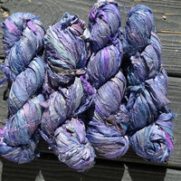 Recycled Sari Silk Ribbon Yarn, Royals, 3.5 oz / 100 grams, 55 to 65 yards, Upcycled, Bulky, Shades of Blue, Purple, Knitting, Crochet