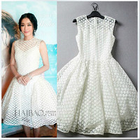 White Floral Lace Sleeveless A-Line Dress