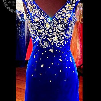 Vestido renda Royal Blue Velvet Short Cocktail Dresses 2017 Evening Party Gowns V-neck Beaded Rhinestone Prom Homecoming Dress
