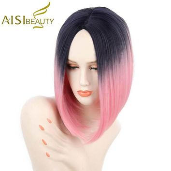 "AISI BEAUTY 12"" Pink Color High Temperature Fiber Silky Straight Synthetic Hair Short Ombre Wigs for Women"