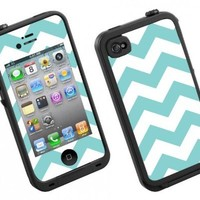 Skin Decal for Lifeproof iPhone 4/4S Case Teal Chevron Design (Case not included)
