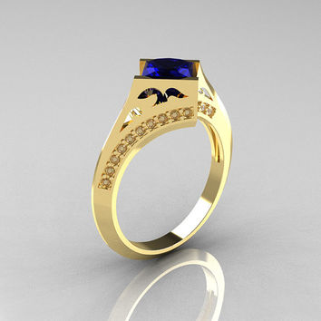 Art Nouveau 14K Yellow Gold 1.0 CT Princess Blue Sapphire Diamond Engagement Wedding Ring R176-14YGDBS