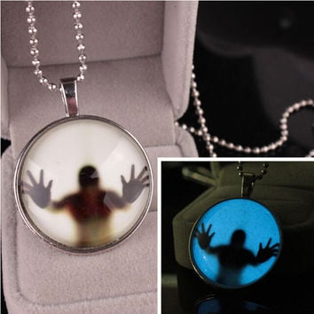 Steampunk Charm Luminous Glow in the Dark Pendant Halloween Bead Necklace + Gift Box