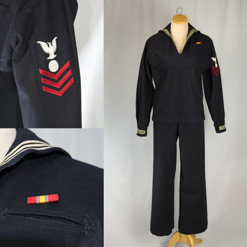 Vintage Navy Sailor Suit Crackerjack Uniform Top and Pants
