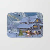 Merry Christmas Bath Mat by Knm Designs