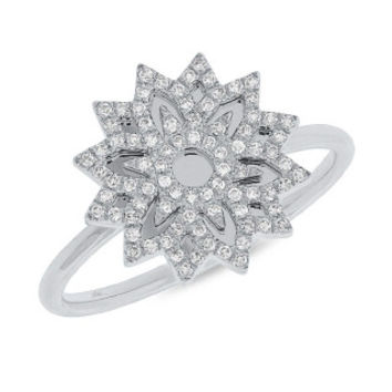 0.19ct 14k White Gold Diamond Snowflake Lady's Ring