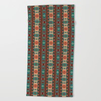 Southwest Design Turquoise Terracotta Beach Towel by Crista S. Forest