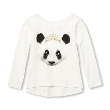 Toddler Girls Long Sleeve Glitter Graphic Hi-Low Top