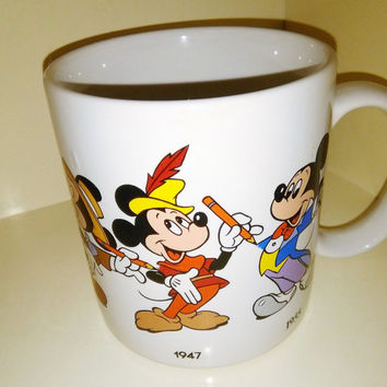 FREE SHIPPING Vintage 1986 Applause Walt Disney Mickey Mouse Mug Through The Years 1928 - 1955 Disneyana Steamboat Willie