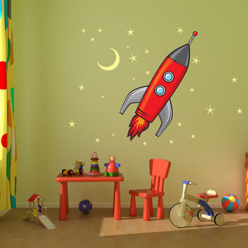 Rocket Ship, Stars and Moon kids room, nursery vinyl wall decal graphics 22x25""