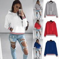 Women Casual Multicolor Stripe Thickened Long Sleeve Hooded Sweater Tops