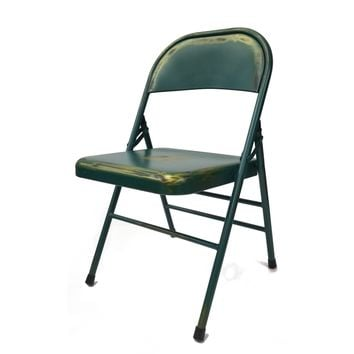 Antique Folding Chair Turquoise