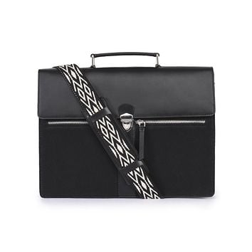 Phive Rivers Men's Leather and Canvas Black Laptop Bag