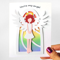 You're My Angel Card, I Love You, Anniversary Card, Custom Message, Valentines Day, Blank Card, Papercut Card, Personalized Text, Curly Hair