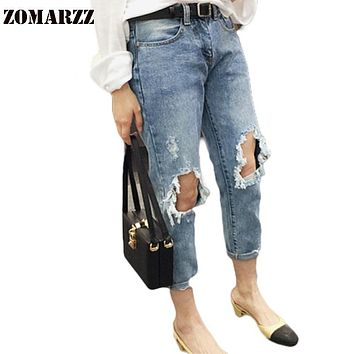 Summer Preppy Style Hole Casual Jeans Beggar Pant Female Loose Boyfriend Ripped Denim Jeans Skinny Pants Harem Mid Waist Pants